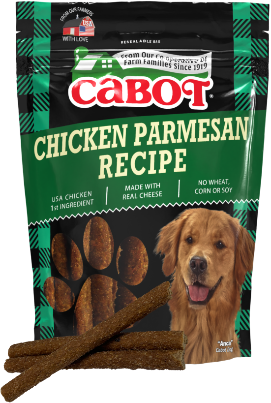 Package of Cabot Cheese Chicken Parmesan Recipe Dog Treats with a stack of treats in front