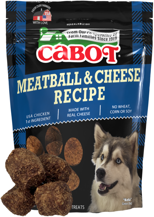 Package of Cabot Cheese Meatball and Cheese Dog Treats with a stack of treats in front